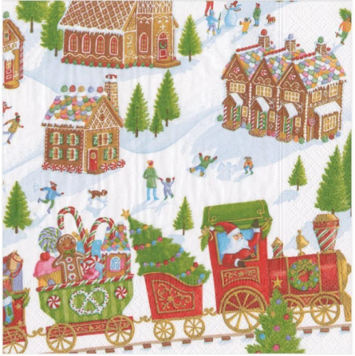 <img class='new_mark_img1' src='https://img.shop-pro.jp/img/new/icons14.gif' style='border:none;display:inline;margin:0px;padding:0px;width:auto;' />カスパリ Gingerbread Village クリスマス お菓子の家  1枚 バラ売り 33cm ペーパーナプキン  Caspari