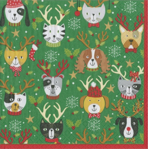 <img class='new_mark_img1' src='https://img.shop-pro.jp/img/new/icons14.gif' style='border:none;display:inline;margin:0px;padding:0px;width:auto;' />カスパリ Pets in Antlers 動物のクリスマス  1枚 バラ売り 33cm ペーパーナプキン  Caspari