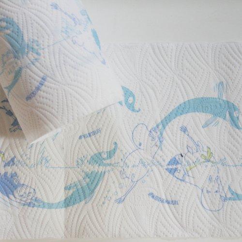 キッチンペーパー 北欧 ムーミン  海 4カット バラ売り 21cmx21cmx4カット MOOMIN  lotus