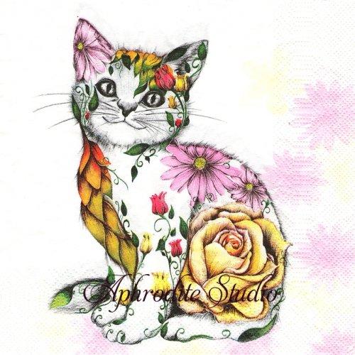 1パック20枚 未開封 Floral Smilling Kitty 花柄の猫 1枚 バラ売り 33cm ペーパーナプキン Daisy