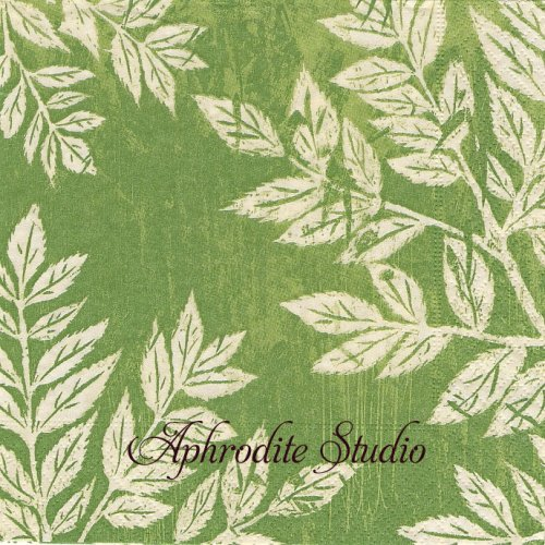 Linocut グリーン リーフ 葉っぱ 1枚 33cm  バラ売り ペーパーナプキン Paper+Design