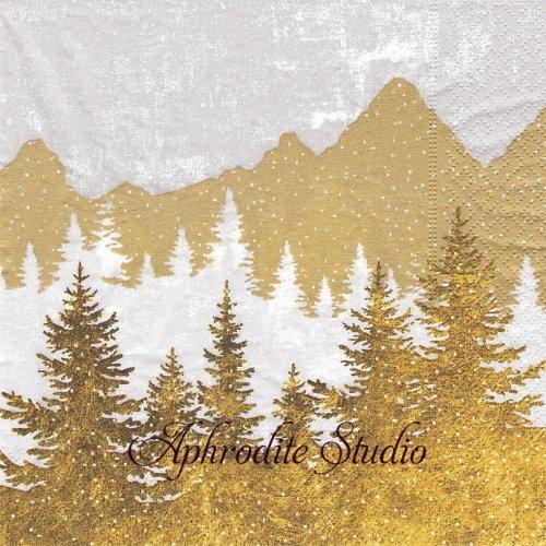 Forest silhouette ゴールド 山の風景 1枚 33cm  バラ売り ペーパーナプキン Paper+Design