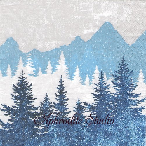 Forest silhouette ブルー 山の風景 1枚 33cm  バラ売り ペーパーナプキン Paper+Design