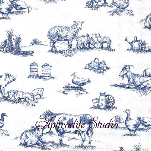 FARM FAMILY ブルー 農場の動物 1枚 バラ売り 33cm ペーパーナプキン Ihr