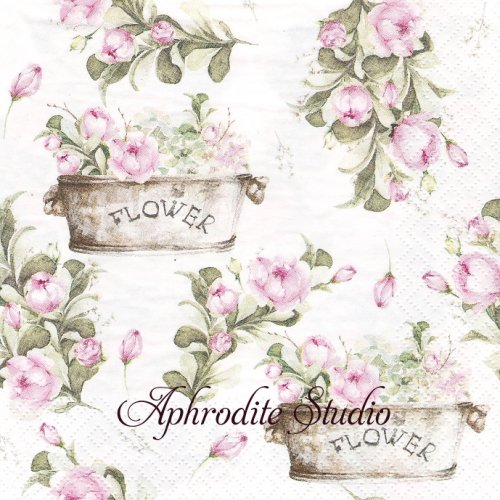 Peony Flower Boxes お花のボックス 1枚 バラ売り 33cm ペーパーナプキン ti-flair