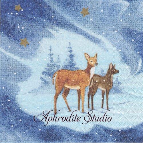 Blue Deers ブルー 2頭の鹿 1枚 33cm  バラ売り ペーパーナプキン Paper+Design