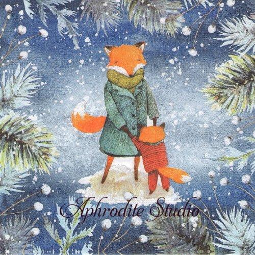 Dancing Foxes ブルー 親子狐 1枚 33cm  バラ売り ペーパーナプキン Paper+Design