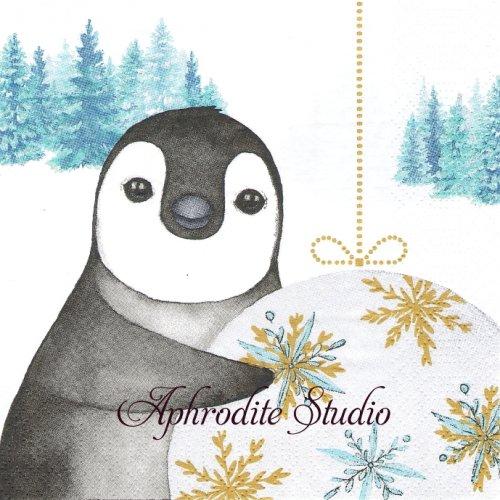 Penguin Ball ブルー オーナメントとペンギン 1枚 33cm  バラ売り ペーパーナプキン Paper+Design