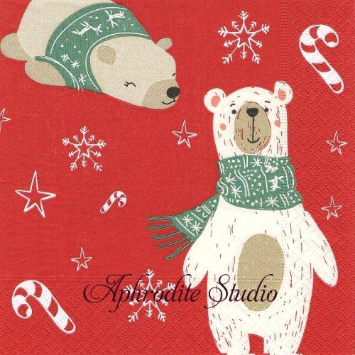 Two Polar Bears レッド 2頭の北極熊 ベア 1枚 33cm  バラ売り ペーパーナプキン Paper+Design