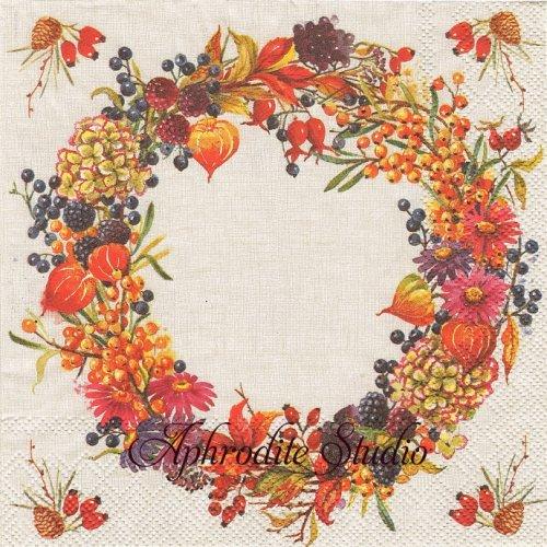 AUTUMN WREATH 秋の木の実のリース 1枚 バラ売り 33cm ペーパーナプキン Ihr