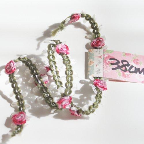 ピンクのバラ ロココリボン トリム  38cm カット済み 1本 お裁縫、スクラップブッキング、カルトナージュなどの装飾に