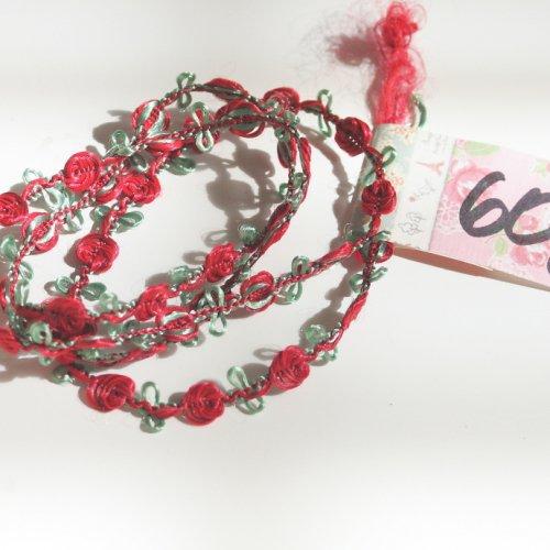 赤いバラ ロココリボン トリム  60cm カット済み 1本 お裁縫、スクラップブッキング、カルトナージュなどの装飾に