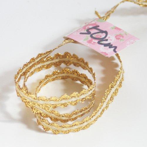 ゴールドxイエローリボン トリム  50cm カット済み 1本 お裁縫、スクラップブッキング、カルトナージュなどの装飾に