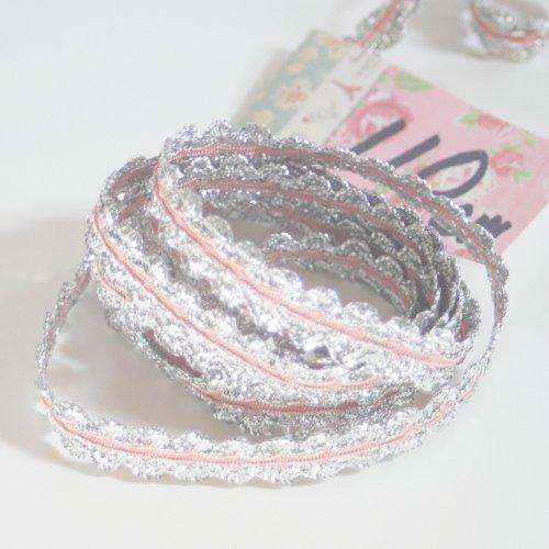 シルバーxピンクリボン トリム  110cm カット済み 1本 お裁縫、スクラップブッキング、カルトナージュなどの装飾に