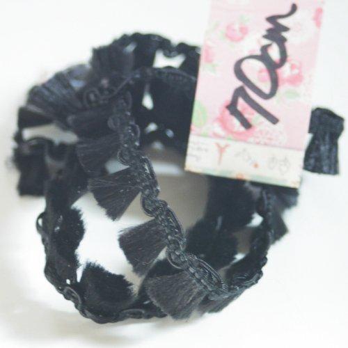 タッセルつき ブラック トリム  70cm カット済み 1本 お裁縫、スクラップブッキング、カルトナージュなどの装飾に