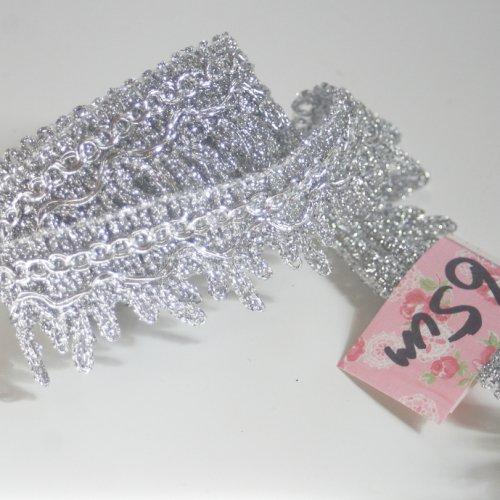 シルバー リボン トリム  65cm カット済み 1本 お裁縫、スクラップブッキング、カルトナージュなどの装飾に