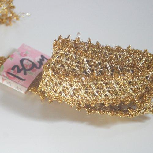 ゴールド リボン トリム  130cm カット済み 1本 お裁縫、スクラップブッキング、カルトナージュなどの装飾に