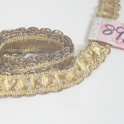 ゴールド リボン トリム  89cm カット済み 1本 お裁縫、スクラップブッキング、カルトナージュなどの装飾に