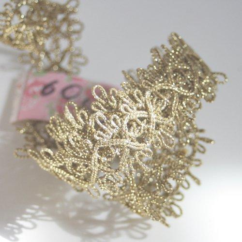 ゴールド リボン トリム  60cm カット済み 1本 お裁縫、スクラップブッキング、カルトナージュなどの装飾に