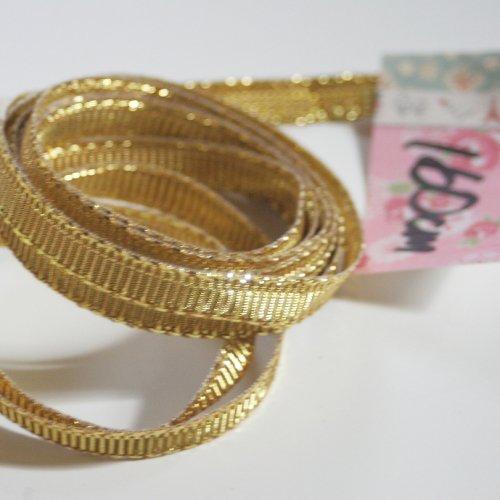 ゴールド リボン トリム  160cm カット済み 1本 お裁縫、スクラップブッキング、カルトナージュなどの装飾に