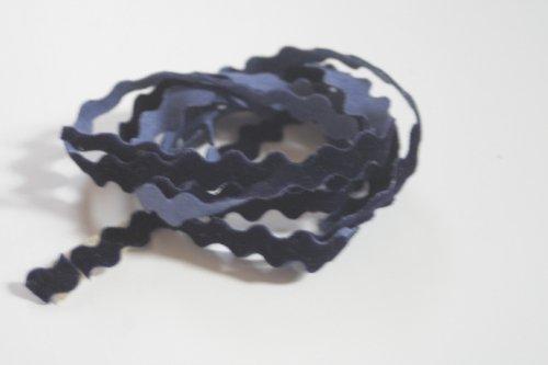 インクブルー リボン トリム  115cm カット済み 1本 お裁縫、スクラップブッキング、カルトナージュなどの装飾に