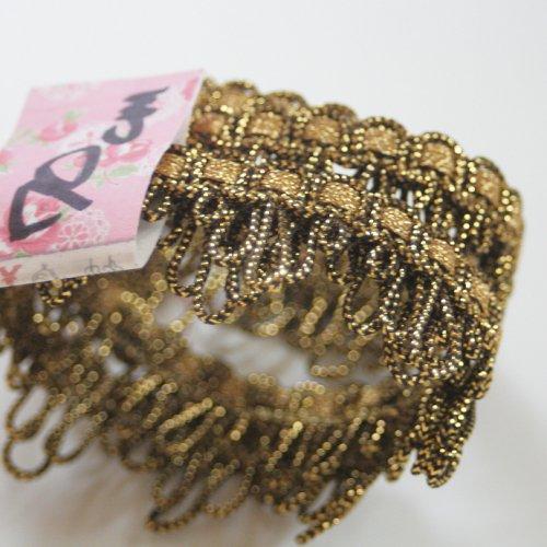 ゴールド メタリック リボン トリム  70cm カット済み 1本 お裁縫、スクラップブッキング、カルトナージュなどの装飾に