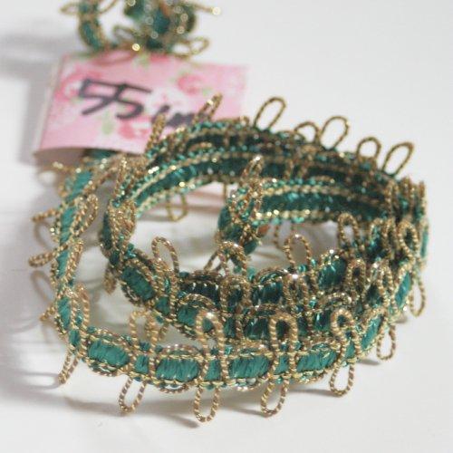 ゴールドxグリーン メタリック リボン トリム  55cm カット済み 1本 お裁縫、スクラップブッキング、カルトナージュなどの装飾に