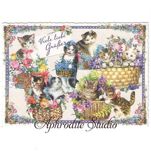 ヴィクトリアン ポストカード 『Cats in Baskets』 葉書 ハガキ カード