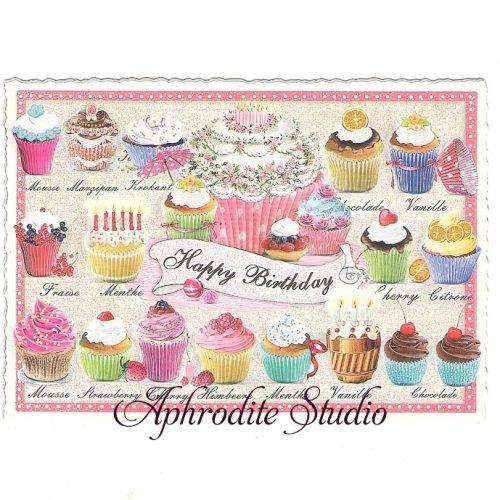 ヴィクトリアン ポストカード 『Cupcakes』 葉書 ハガキ カード