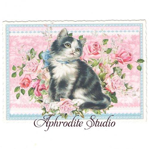 ヴィクトリアン ポストカード 『Lovely Black Cat』 葉書 ハガキ カード