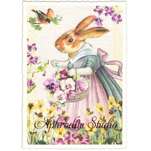 ヴィクトリアン ポストカード 『Easter Mama Rabbit』 葉書 ハガキ カード
