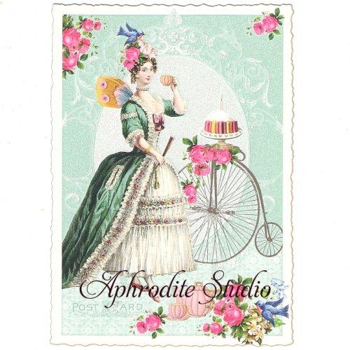 ヴィクトリアン ポストカード 『Lady with Bicycle』 葉書 ハガキ カード
