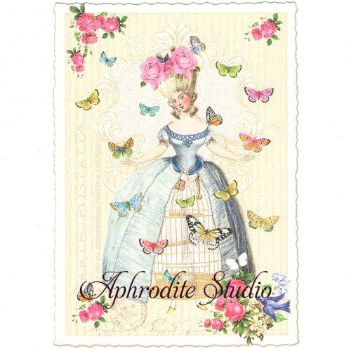 ヴィクトリアン ポストカード 『Lady with Butterflies』 葉書 ハガキ カード