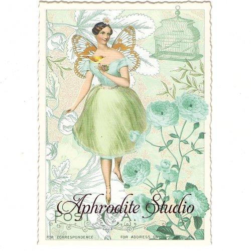 ヴィクトリアン ポストカード 『green Girl』 葉書 ハガキ カード