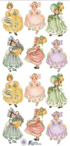 Pastel Dancers パステルカラーのドレスの女の子たち 1シート ヴィクトリアン シール ラベル ビクトリアン Victorian ラッピング