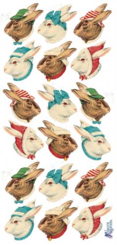 Rabbit heads うさぎたち イースター1シート ヴィクトリアン シール ラベル ビクトリアン Victorian ラッピング