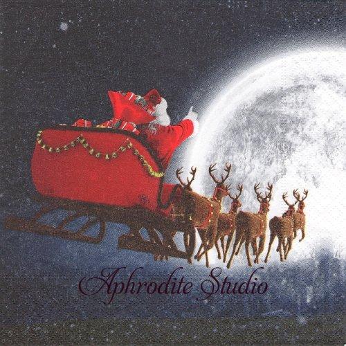 Flying Santa 月夜のサンタクロース クリスマス1枚 33cm  バラ売り ペーパーナプキン Paper+Design