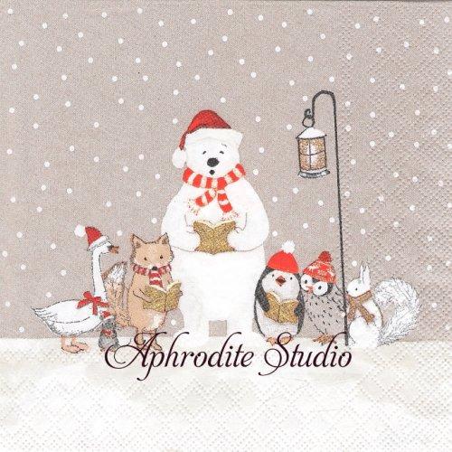 しろくまと動物のクリスマス 1枚 バラ売り 33cm ペーパーナプキン Stewo