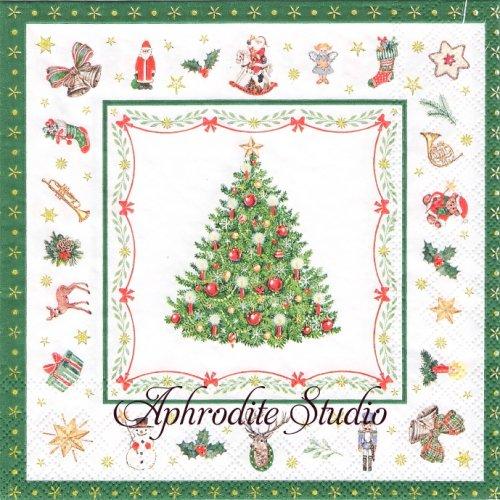 CHRISTMAS EVERGREEN ツリー 小さなクリスマスアイテム 1枚 バラ売り 33cm ペーパーナプキン Ambiente