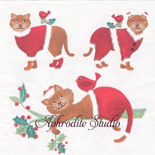 DRESSING CATS クリスマス サンタ服の猫 1枚 バラ売り 33cm ペーパーナプキン Ambiente