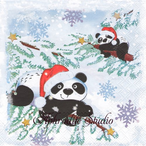 PANDAS IN SNOW クリスマス サンタ帽子のパンダ 1枚 バラ売り 33cm ペーパーナプキン Ambiente