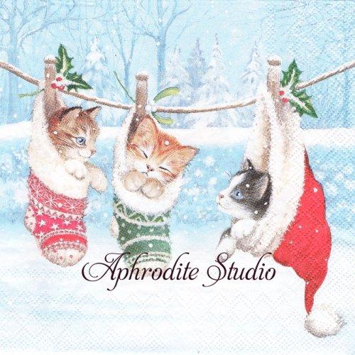 KITTEN IN WONDERLAND クリスマス 帽子と靴下の中の子猫 1枚 バラ売り 33cm ペーパーナプキン Ambiente