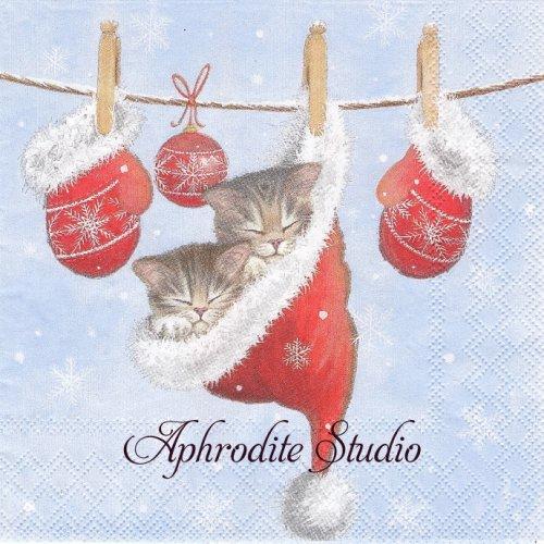 JUST SLEEPY クリスマス 帽子の中の子猫 1枚 バラ売り 33cm ペーパーナプキン Ambiente