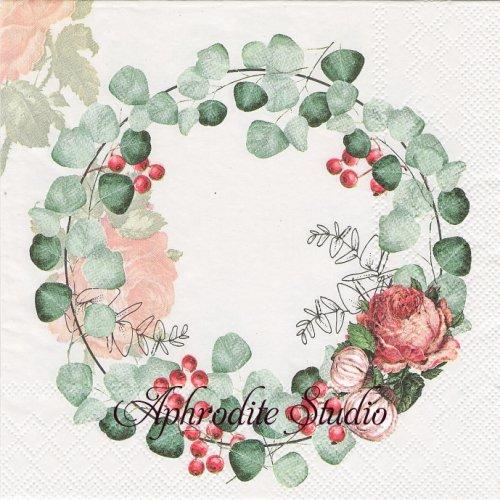 WREATH OF EUCALYPTUS ユーカリのリース1枚 バラ売り 33cm ペーパーナプキン Ambiente
