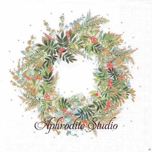 Christmas Hill Wreath クリスマス 葉っぱ リーフ 1枚 バラ売り 33cm ペーパーナプキン ppd