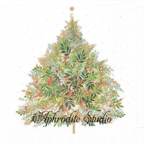 Christmas Hill Tree クリスマス ツリー 1枚 バラ売り 33cm ペーパーナプキン ppd