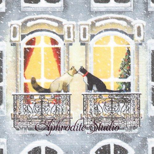 Townhouse Cats 小窓の前の猫たち 1枚 バラ売り 33cm ペーパーナプキン ppd
