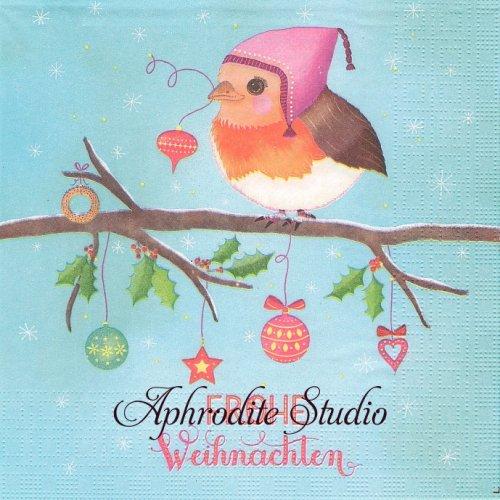 Frohe Weihnachten 小鳥 クリスマス 1枚 バラ売り 33cm ペーパーナプキン ppd