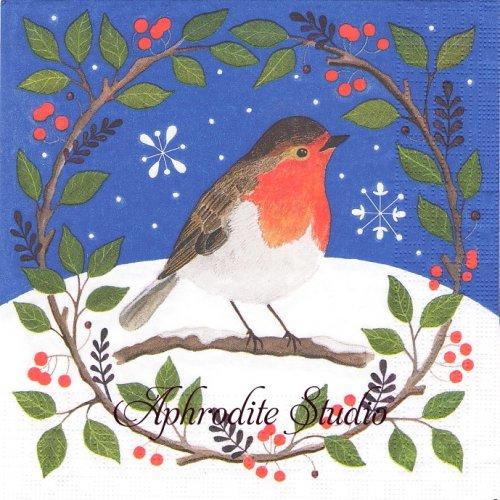 Violetta リースの小鳥 クリスマス 1枚 バラ売り 33cm ペーパーナプキン ppd