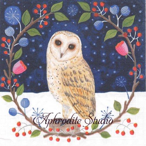 Hedwig リースのフクロウ クリスマス 1枚 バラ売り 33cm ペーパーナプキン ppd